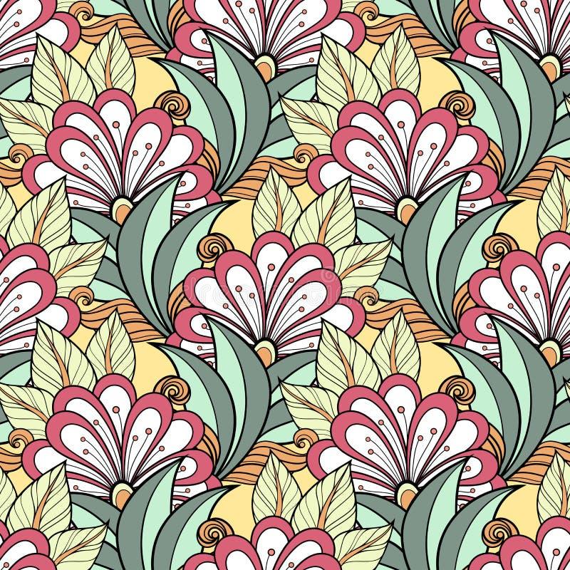 Naadloos bloemenpatroon (vector) stock illustratie