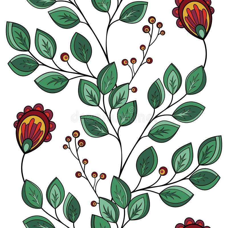 Naadloos bloemenpatroon (vector) royalty-vrije illustratie