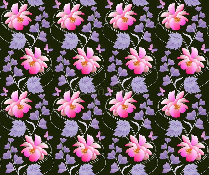 Naadloos bloemenpatroon in vector Roze kosmos en lilac klokbloemen op zwarte achtergrond Verticale slingers met purpere bladeren royalty-vrije illustratie