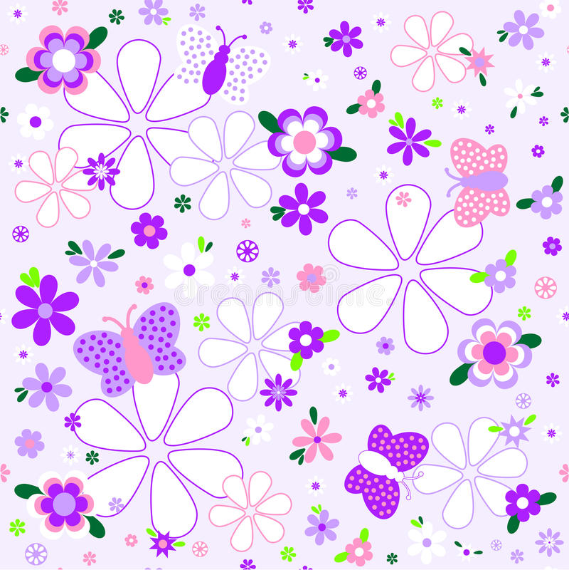 Naadloos bloemenpatroon in violette tonen royalty-vrije illustratie