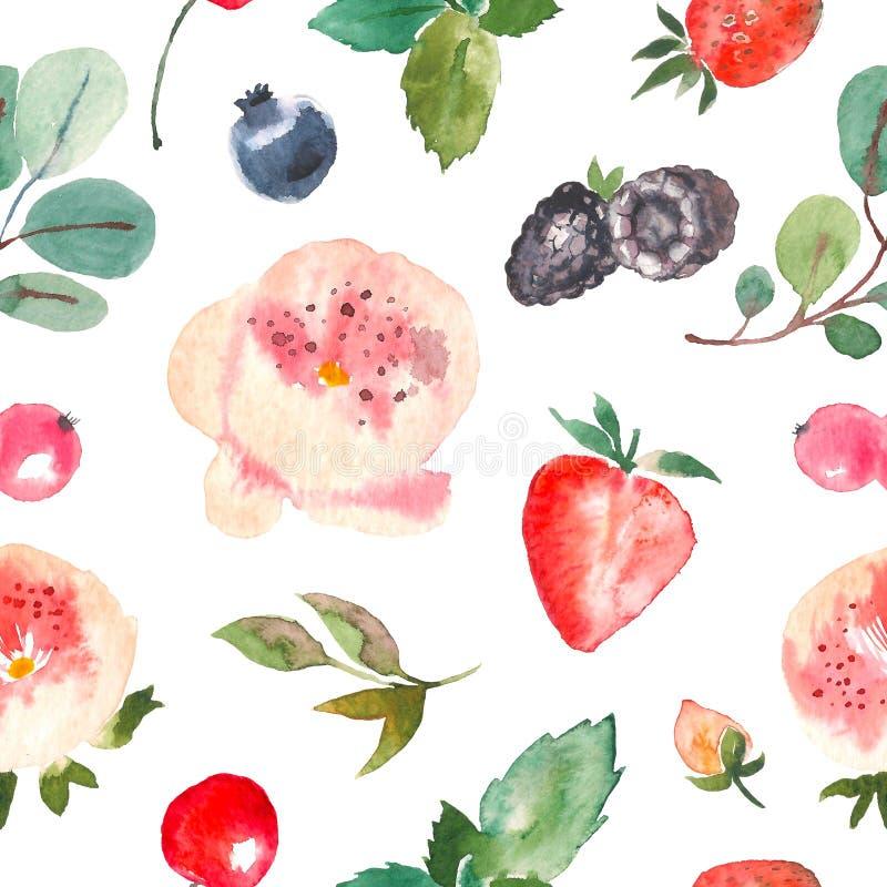 Naadloos bloemenpatroon voor textiel, verpakking, Behang, dekking Waterverf bloemenhand als achtergrond die met bessen wordt getr stock illustratie