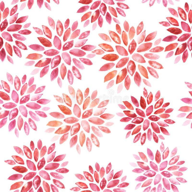 Naadloos bloemenwaterverfornament stock illustratie