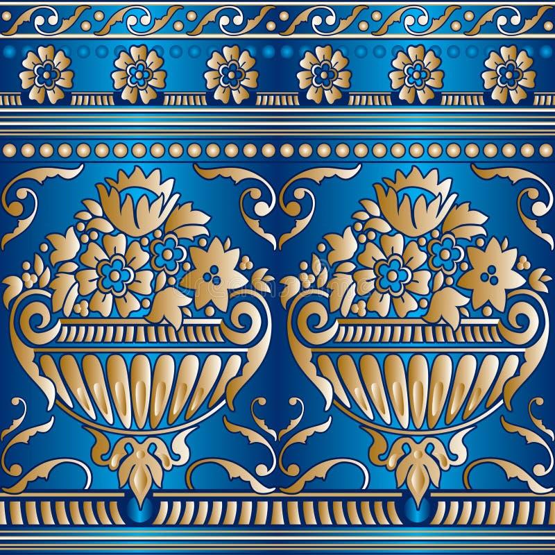 Naadloos bloemgoud vector illustratie