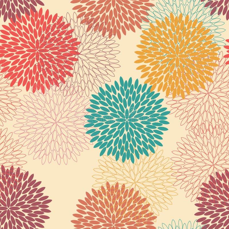 Naadloos bloempatroon in retro stijl stock illustratie