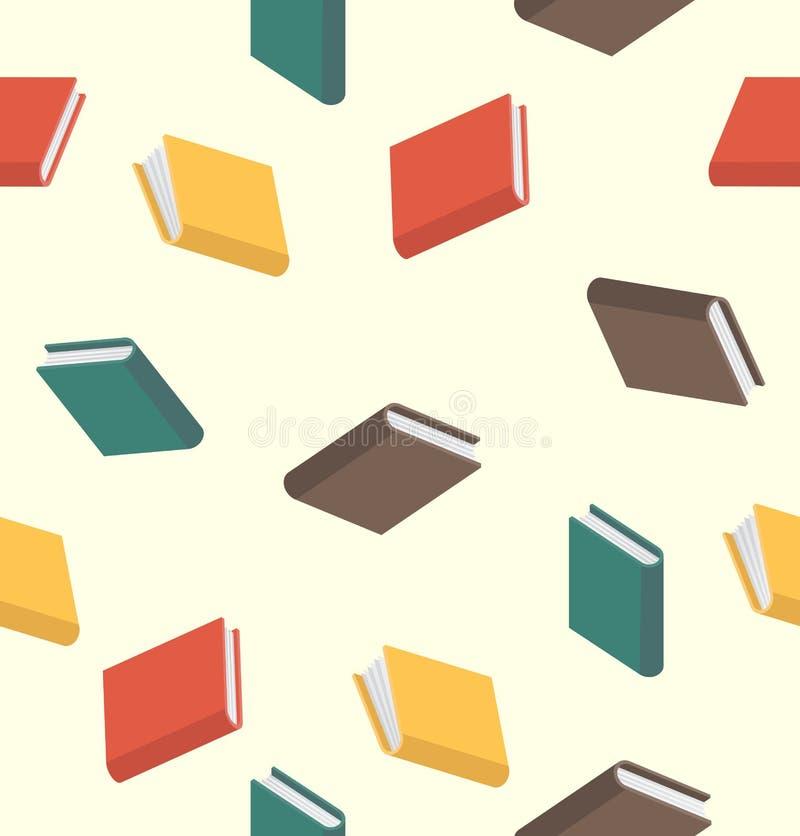 Naadloos boekenpatroon gekleurd in vlakke stijl stock illustratie