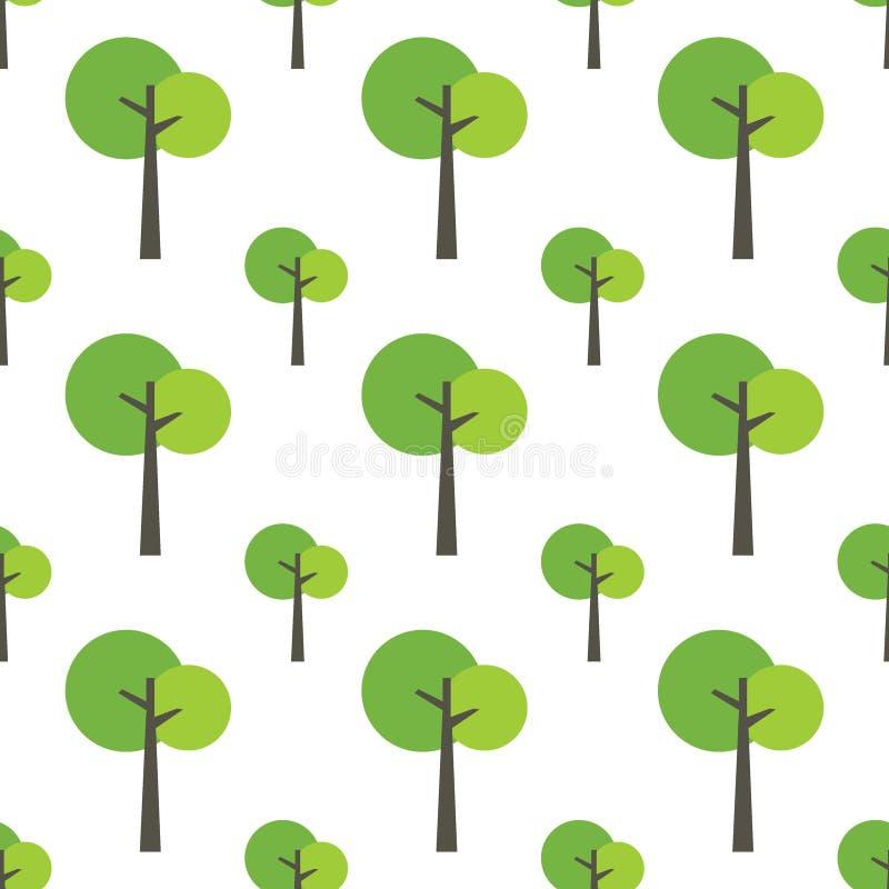 Naadloos boompatroon op wit stock afbeeldingen