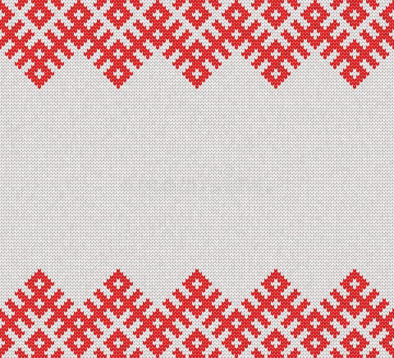 Naadloos breiend patroon Gebaseerd op traditioneel Russisch ornament bannermalplaatje stock illustratie