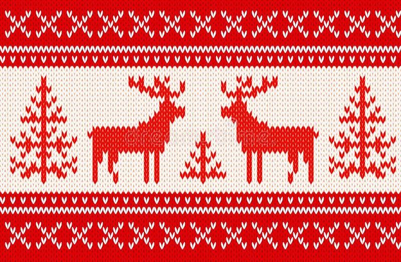 Naadloos breiend patroon met deers stock illustratie