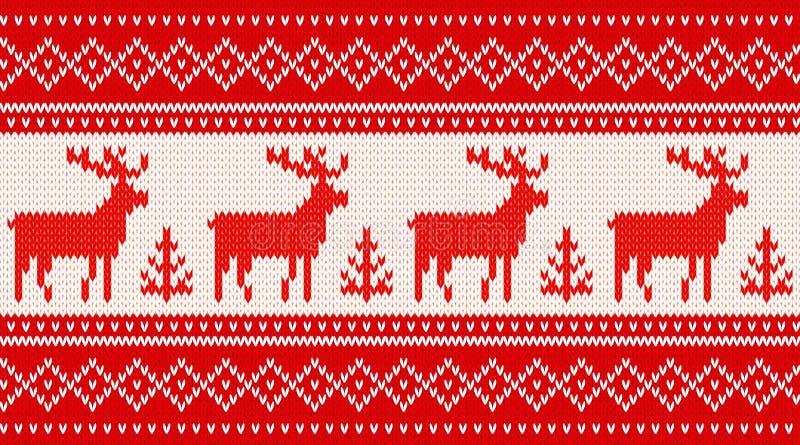 Naadloos breiend patroon met deers royalty-vrije illustratie
