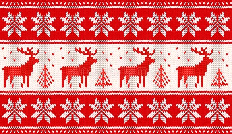 Naadloos breiend patroon met deers en noordse sterren vector illustratie