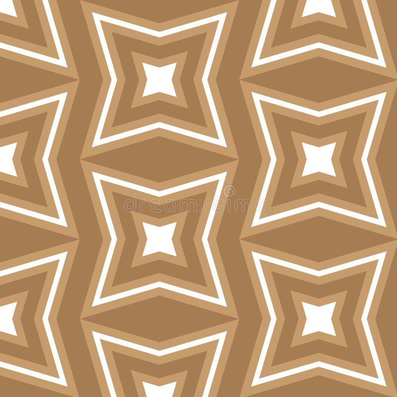 Naadloos bruin en wit ster als thema gehad patroon als achtergrond stock illustratie