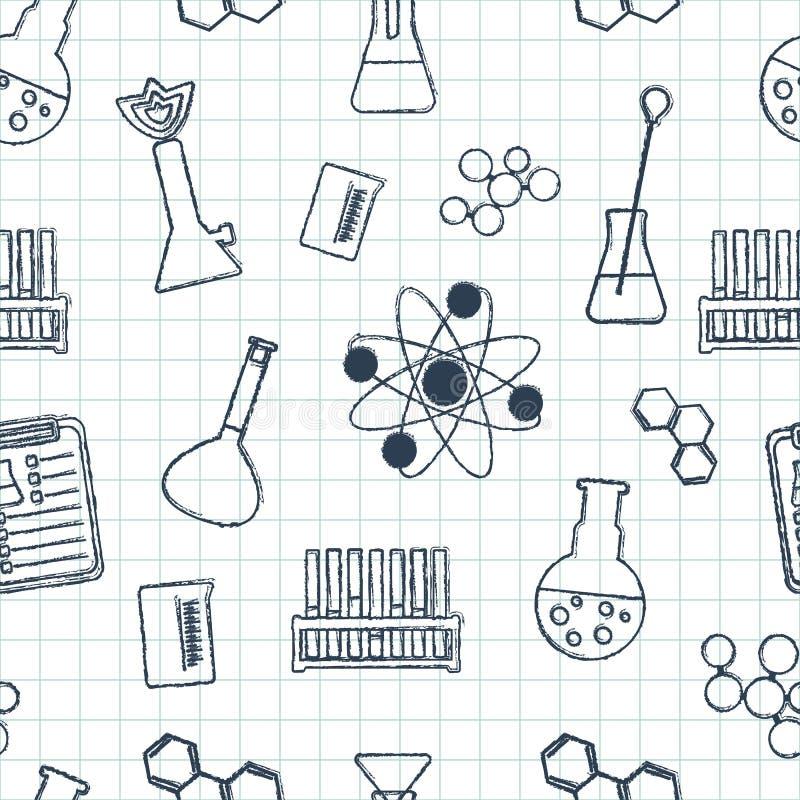 Naadloos chemisch patroon Chemische glaswerk en reagentia Hand-drawn elementen Vlak Ontwerp Vector stock illustratie