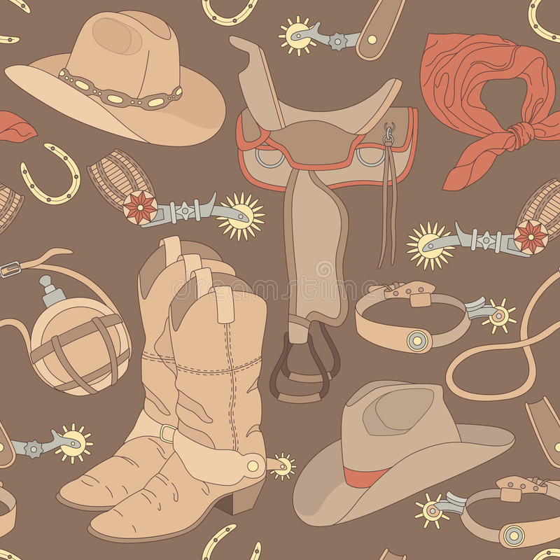 Naadloos cowboypatroon stock illustratie