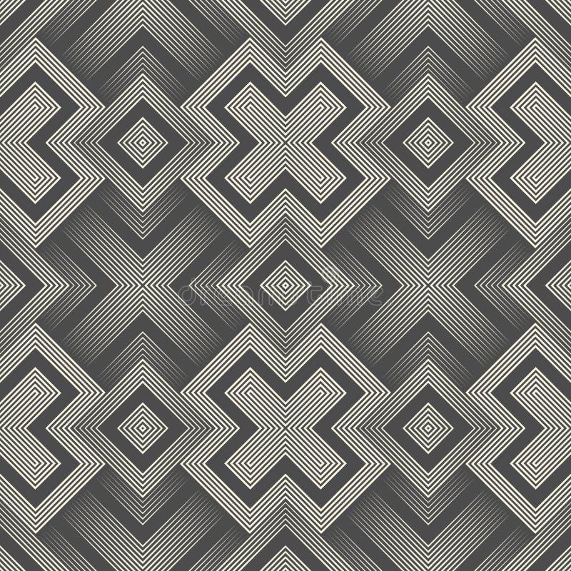 Naadloos 3d Dwarspatroon Abstracte Zwart-witte Streeprug stock illustratie