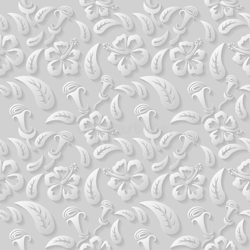 Naadloos 3D wit bloemenpatroon, vector De eindeloze textuur kan voor behang worden gebruikt, vult het patroon, Web-pagina achterg vector illustratie