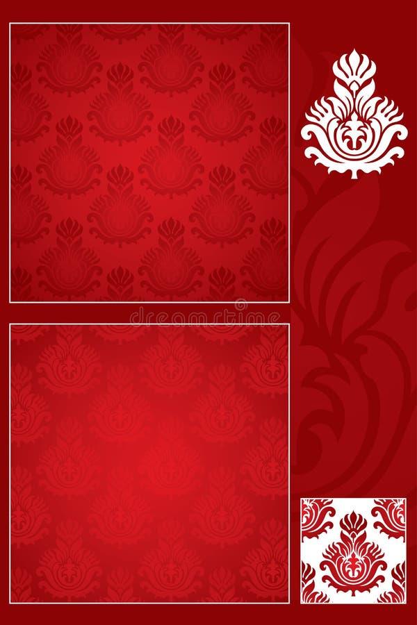 Naadloos damastpatroon en ornament royalty-vrije illustratie