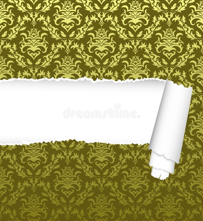 Naadloos damastpatroon met gescheurde exemplaar-ruimte stock illustratie