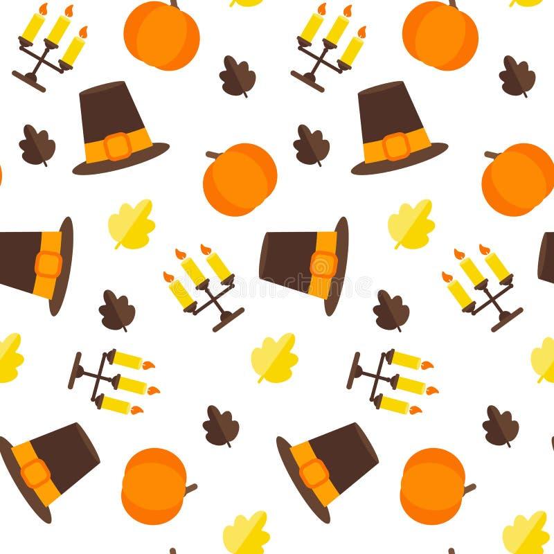 Naadloos Dankzeggingspatroon met hoed, pompoen, blad, drievoudige kandelaar met kaars Vlakke stijl stock illustratie