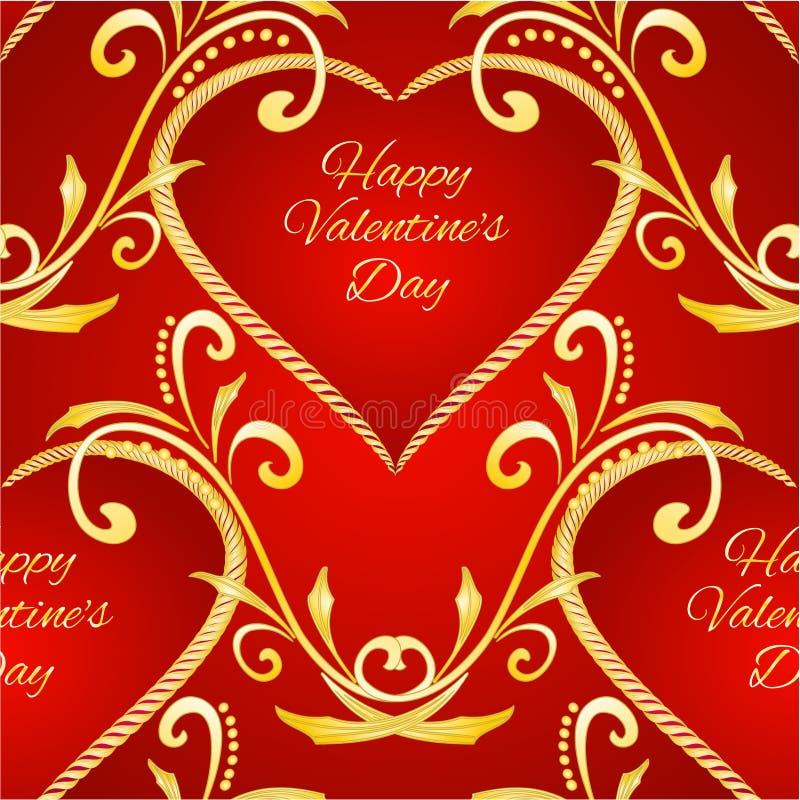 Naadloos de daghart van textuur Gelukkig Valentine met gouden ornamenten feestelijke rode uitstekende vector editable illustratie vector illustratie