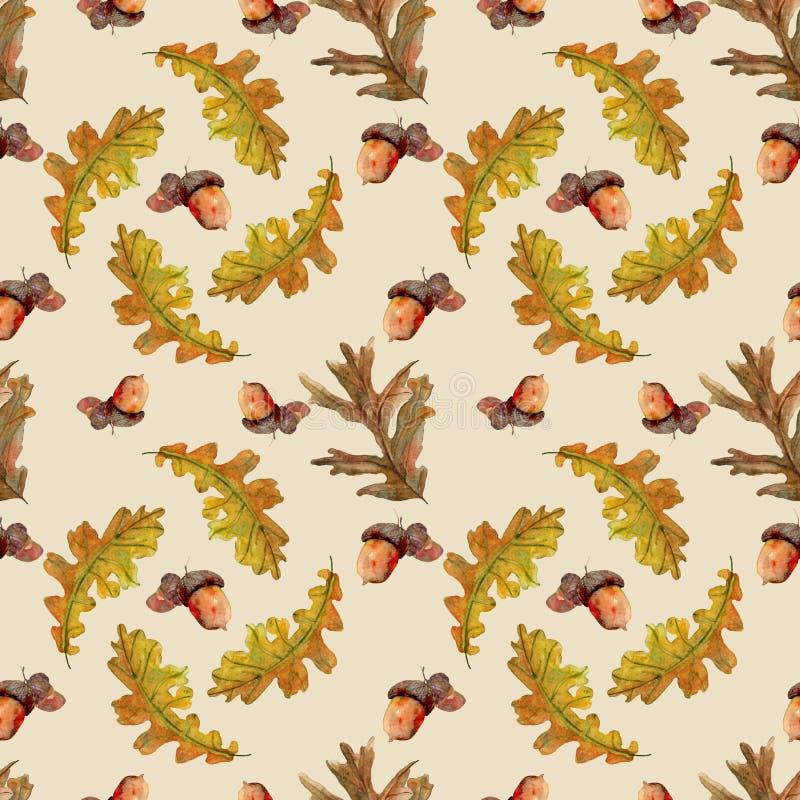 Naadloos de herfstpatroon met bladeren stock illustratie