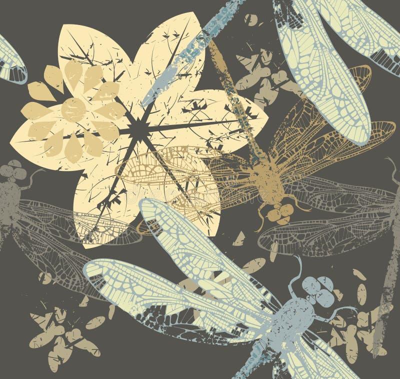 Naadloos de Herfstpatroon met bloemen en libel vector illustratie