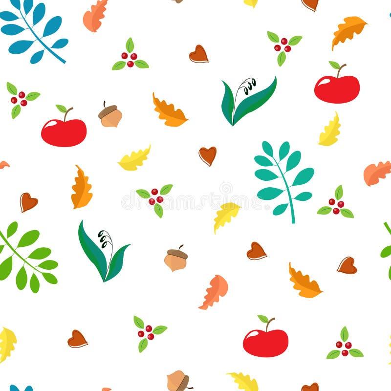 Naadloos de herfstpatroon met eiken bladeren, appelen, lingonberries, eikels, blauwe bladeren stock illustratie