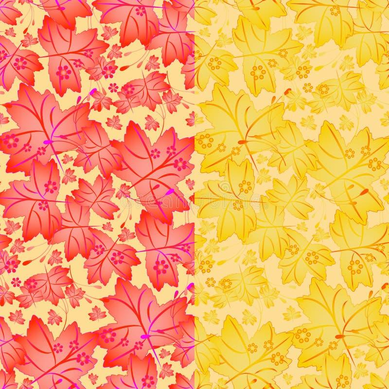 Naadloos de herfstpatroon met esdoornbladeren royalty-vrije illustratie