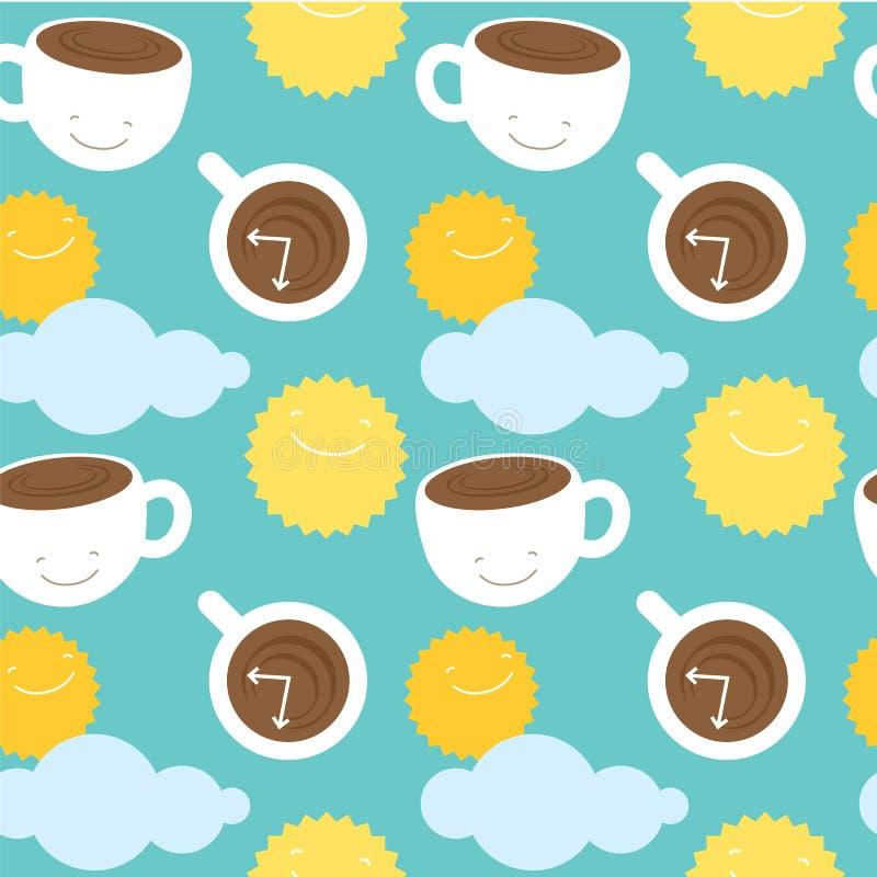 Naadloos de koffiethema van de patroonochtend: koppen met royalty-vrije illustratie
