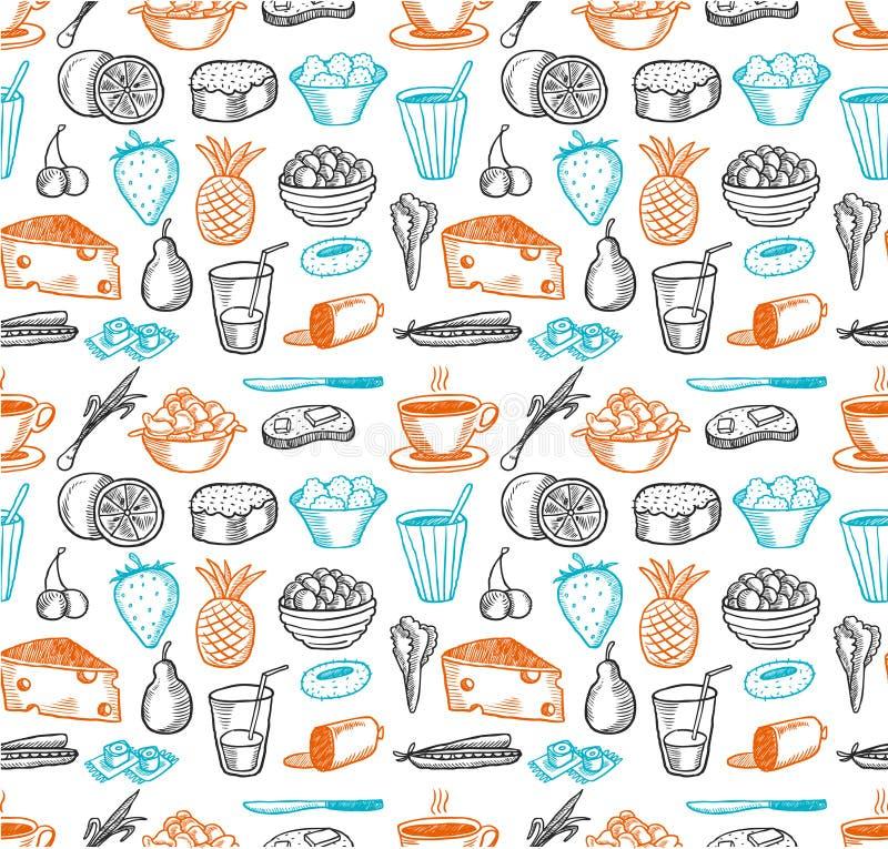 Naadloos de krabbelspatroon van het voedsel vector illustratie