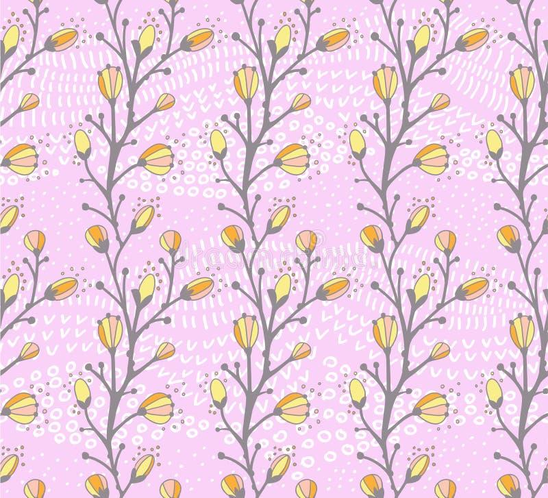 Naadloos de lentepatroon met de tak van een wilg vector illustratie