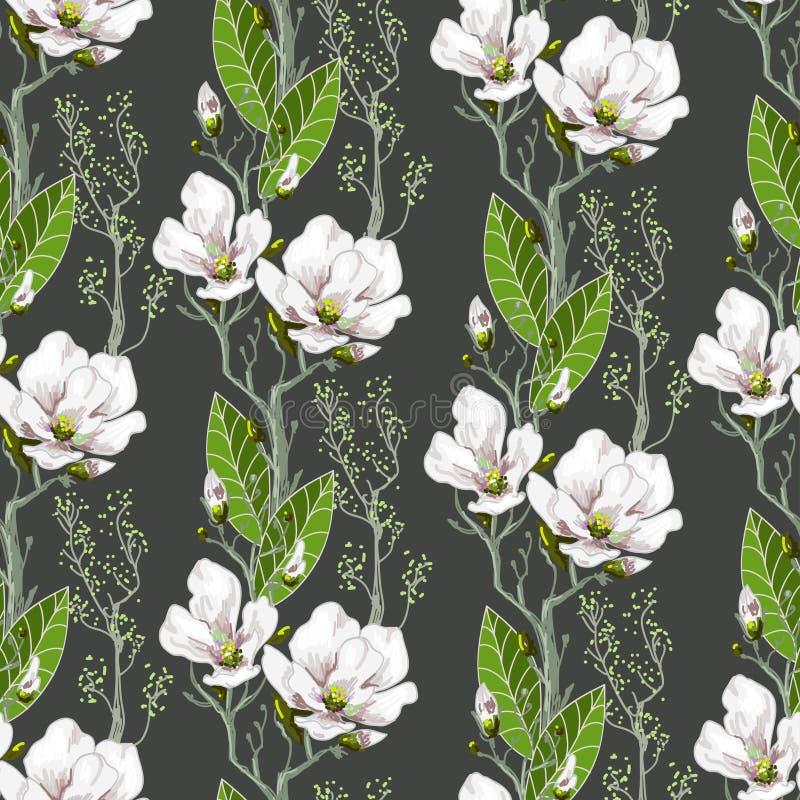 Naadloos de lentepatroon met magnolia's en groene bladeren Gevoelige bloemen in botanische motieven stock illustratie