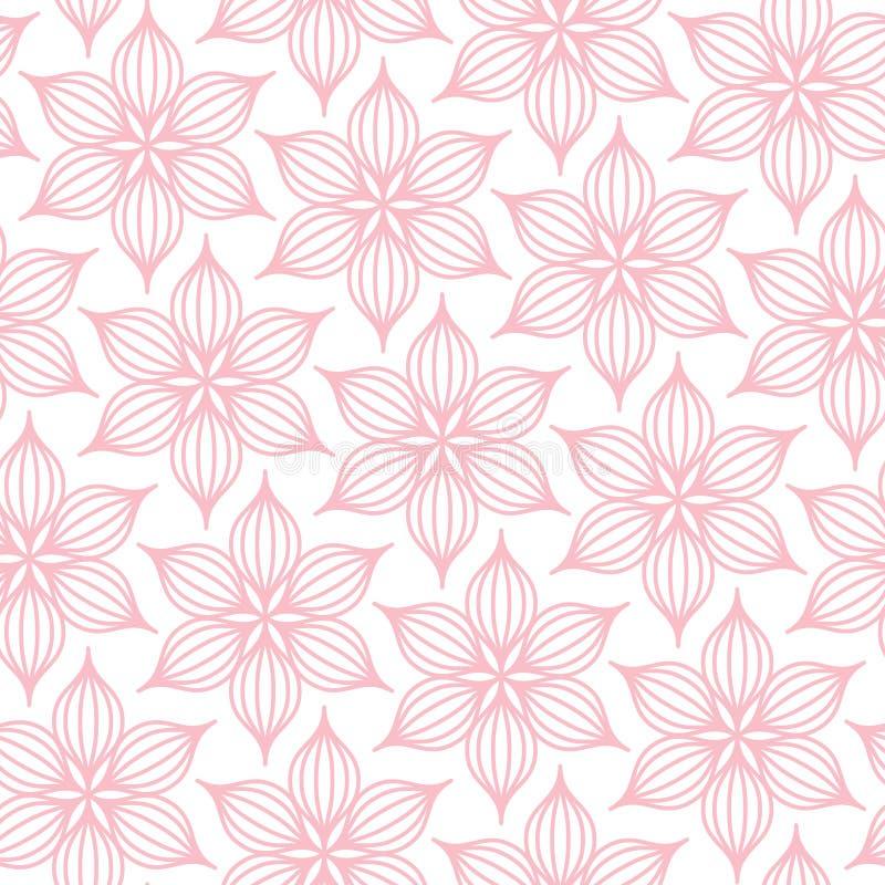 Naadloos de Lijnroze en Wit van Patroon Groot Bloemen stock illustratie