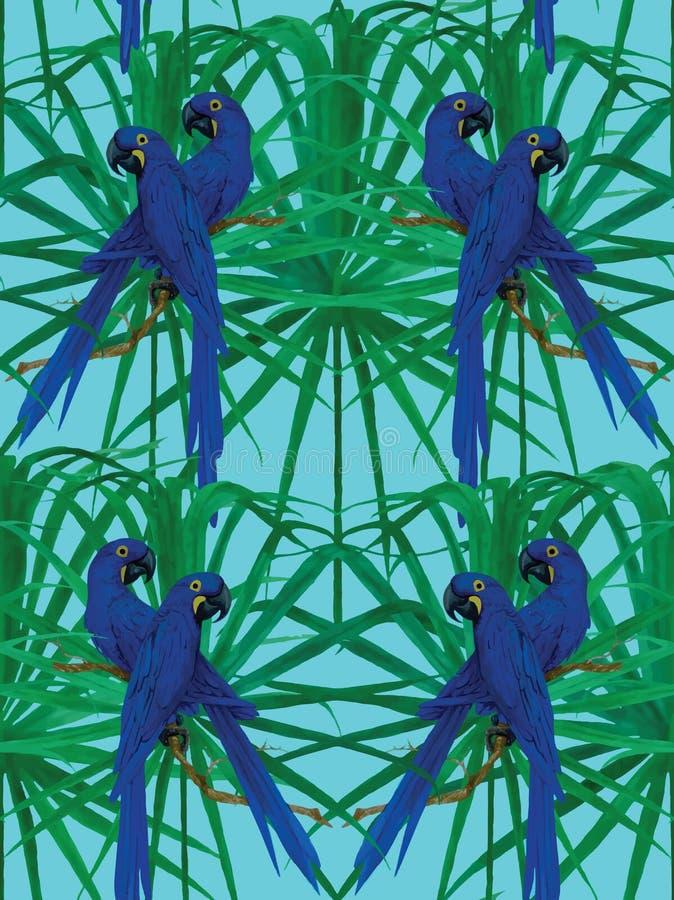 Naadloos de papegaaipatroon van de hyacintara vector illustratie
