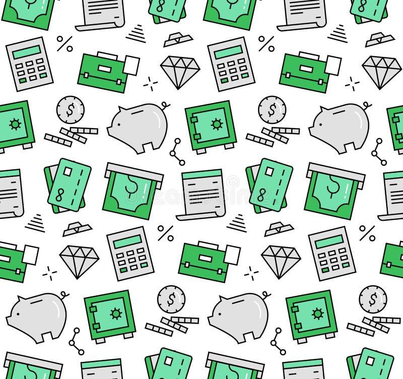 Naadloos de pictogrammenpatroon van financiënelementen stock illustratie