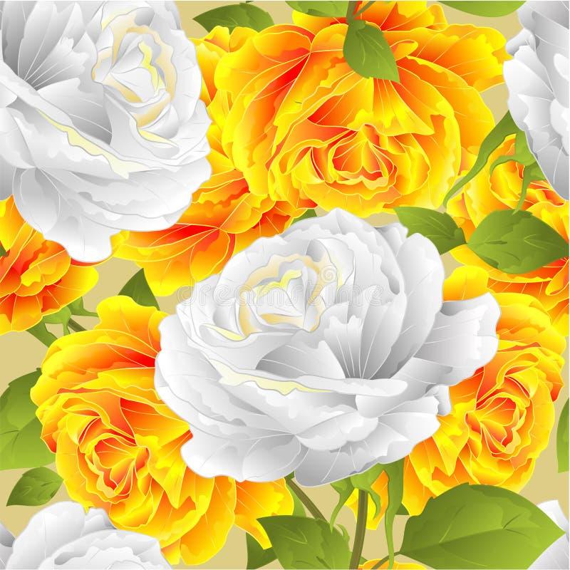 Naadloos de rozen feestelijk van de textuurbloem geel en wit takje als achtergrond met editable bladeren uitstekende vectorillust vector illustratie