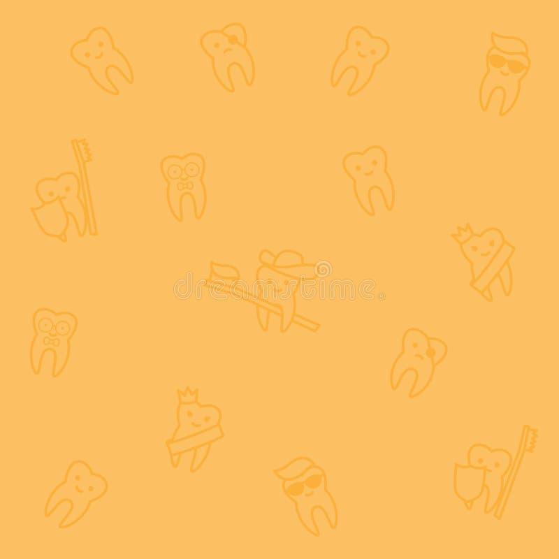Naadloos de tandpatroon van de lijnkunst vector illustratie