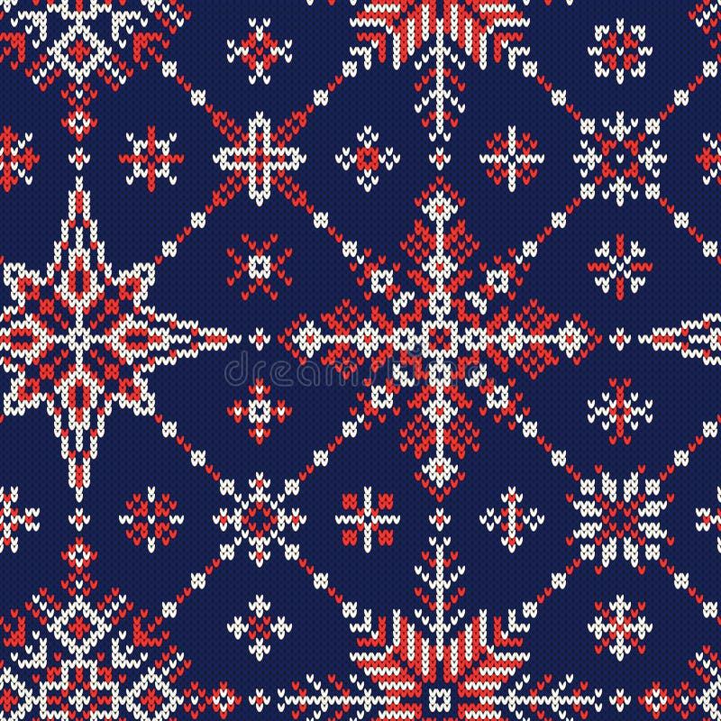 Naadloos de winter gebreid patroon van rode en witte sneeuwvlokken op a stock illustratie