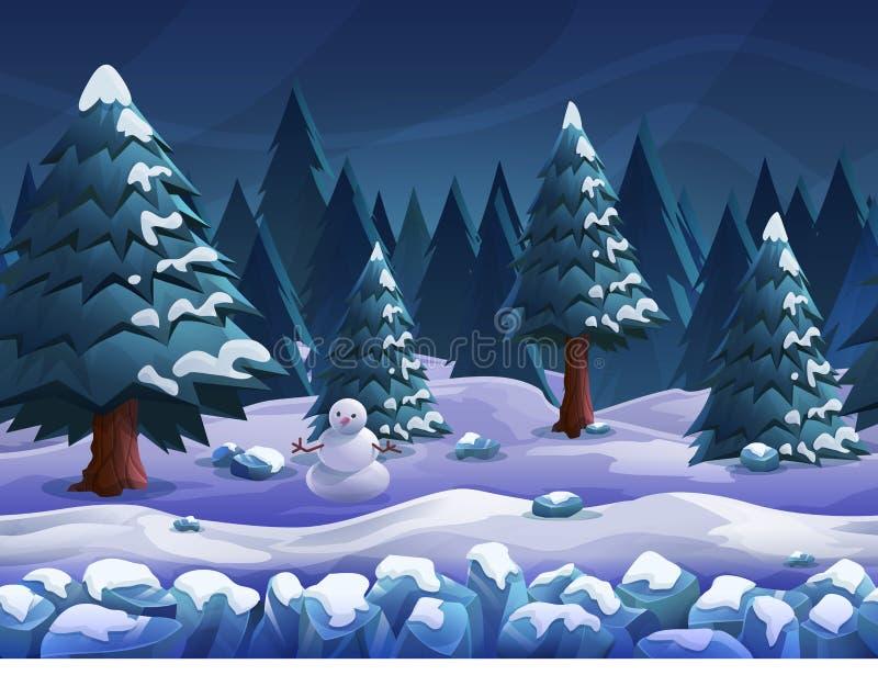 Naadloos de winterlandschap van de beeldverhaalaard, vector oneindige achtergrond met gescheiden lagen vector illustratie
