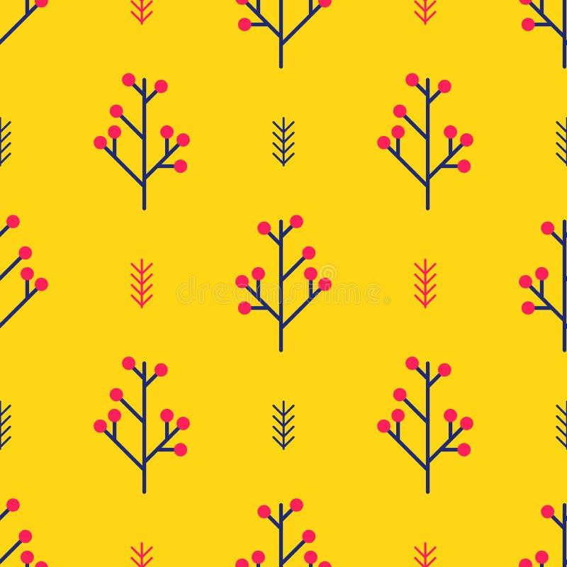 Naadloos de winterpatroon met rode bessen en takken op levendige oranje achtergrond Eenvoudig vectorornament van noordse geometri royalty-vrije illustratie