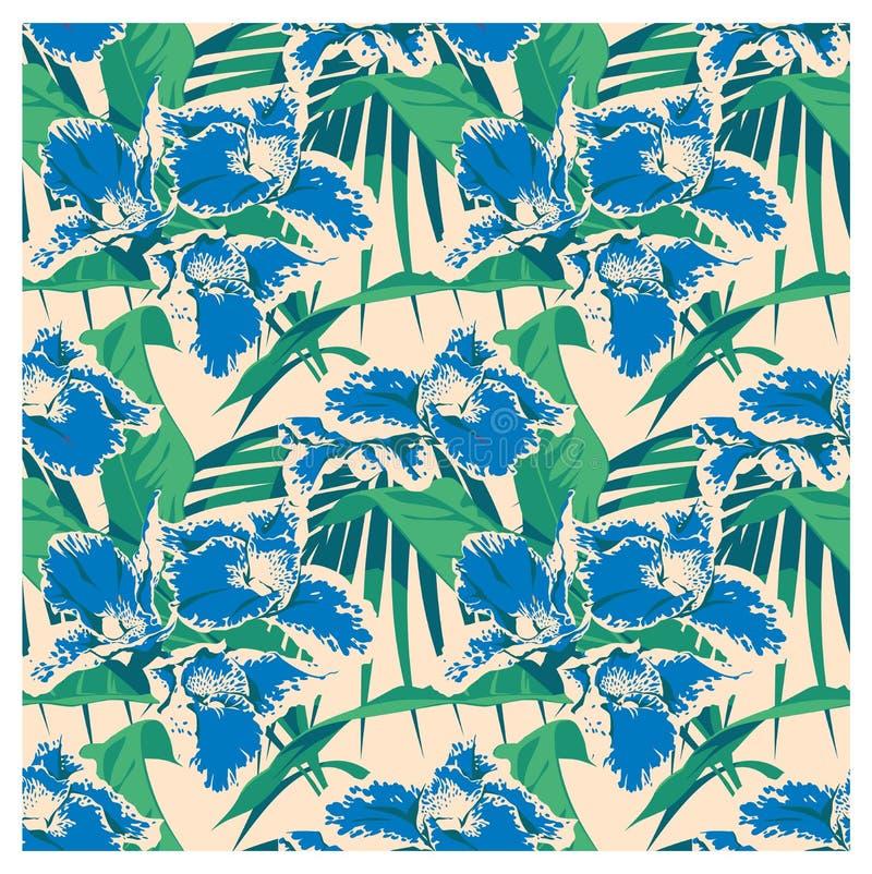Naadloos de zomer Hawaiiaans tropisch patroon met, palmbladen en bloemen royalty-vrije illustratie
