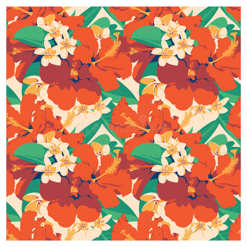 Naadloos de zomer Hawaiiaans tropisch patroon met, palmbladen en bloemen vector illustratie