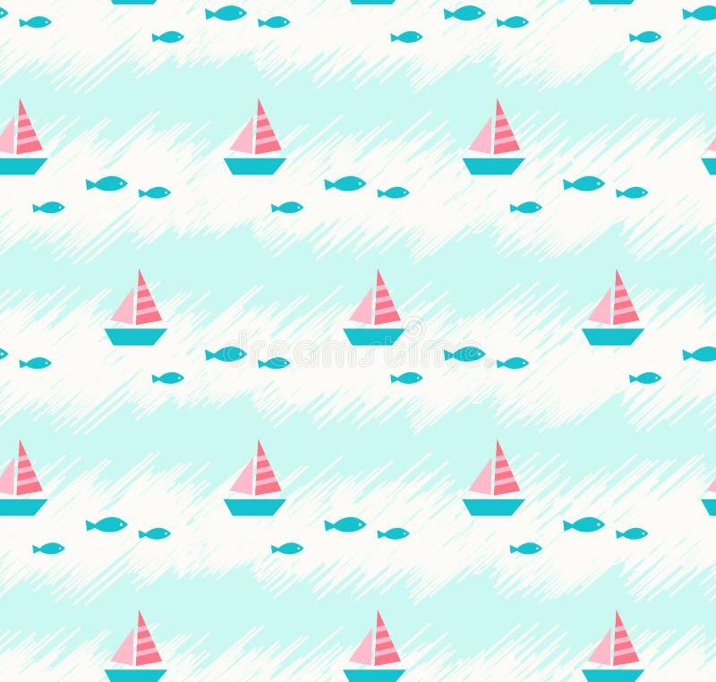 Naadloos de zomerpatroon met boten en vissen vector illustratie
