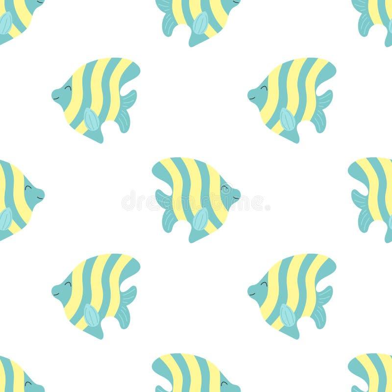 Naadloos de zomerpatroon met leuke strepenvissen Vector overzeese illustratie voor kinderen, vakantie, achtergrond, druk, ontwerp stock illustratie