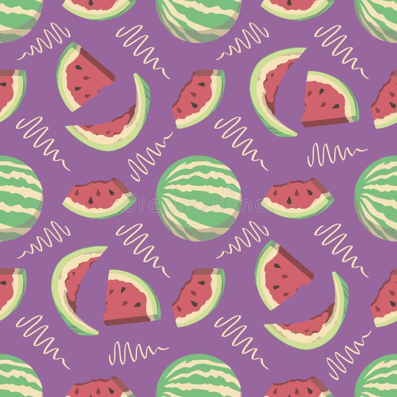 Naadloos de zomerpatroon met de meloen van het beeldverhaalwater en plakken op heldere purpere achtergrond vector illustratie