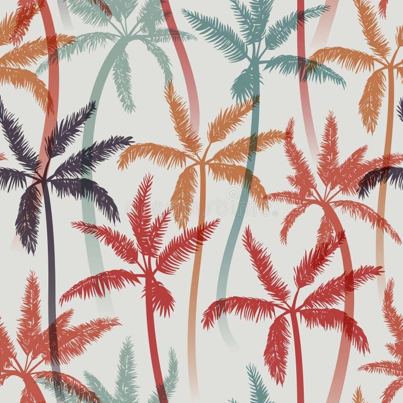 Naadloos de zomerpatroon met palmen vector illustratie