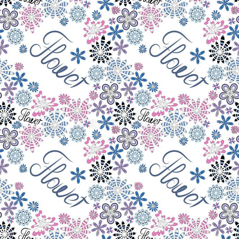 Naadloos decoratief bloemenpatroon met de woordbloem, witte achtergrond, creatieve bloemen in pastelkleuren stock afbeeldingen