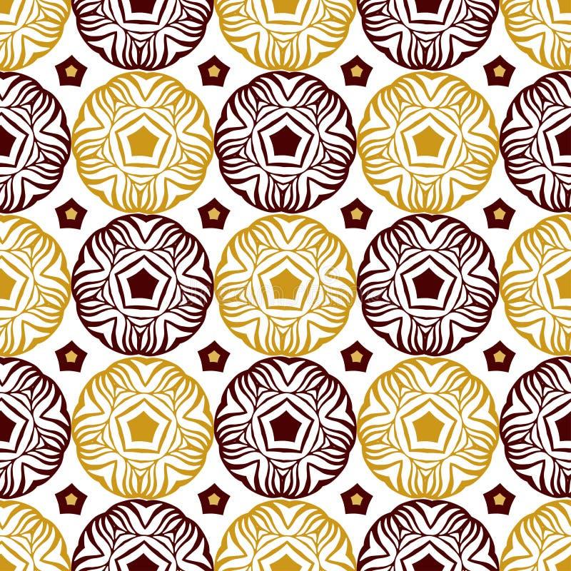 Naadloos decoratief cirkelpatroon met gouden etnisch ornament Kan voor behang worden gebruikt, vult het patroon, Web-pagina achte stock illustratie