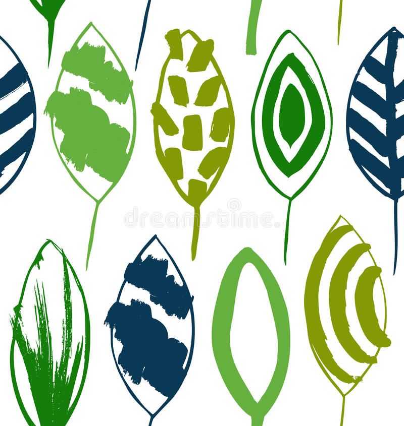 Naadloos decoratief groen patroon met inkt getrokken bladeren Vectortextuur in grungestijl stock illustratie