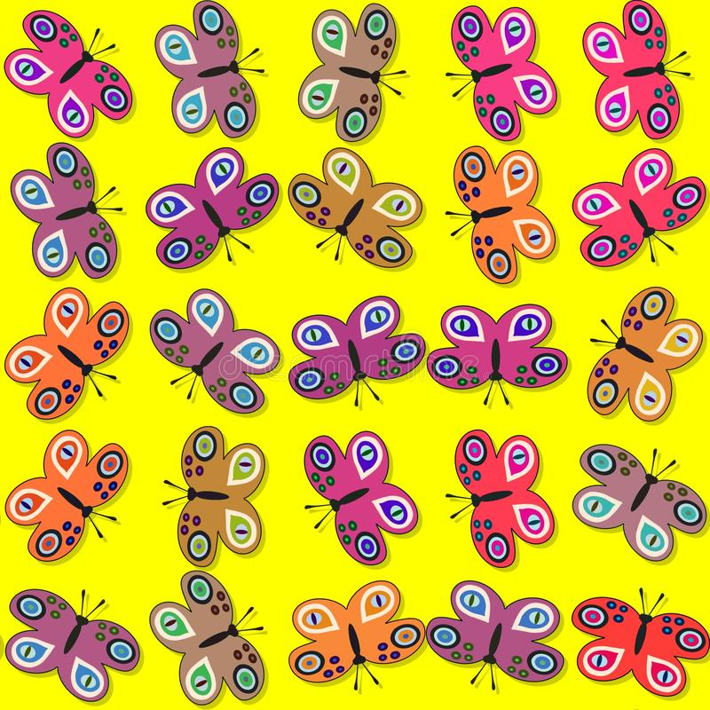 Naadloos decoratief vlinderspatroon stock illustratie