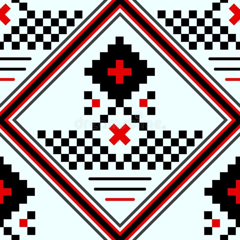 Naadloos deel van geborduurd goed zoals de met de hand gemaakte zwarte, het wit en het rood van het dwars-steek etnische naadloze vector illustratie